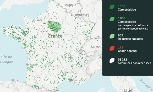 Un site recense 1204 communes qui ne pulvérisent plus de pesticides chimiques dans les espaces publics. / villes-et-villages-sans-pesticides.fr / Capture d'écran