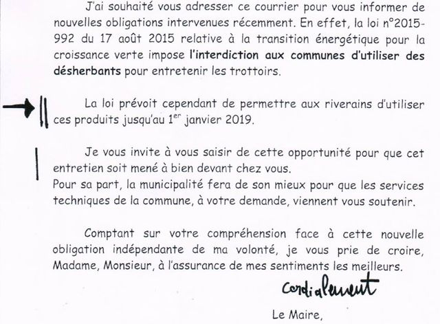 Le courrier adressé par le maire de Richelieu à ses administrés, en octobre 2017. / Capture d'écran / generations-futures.fr